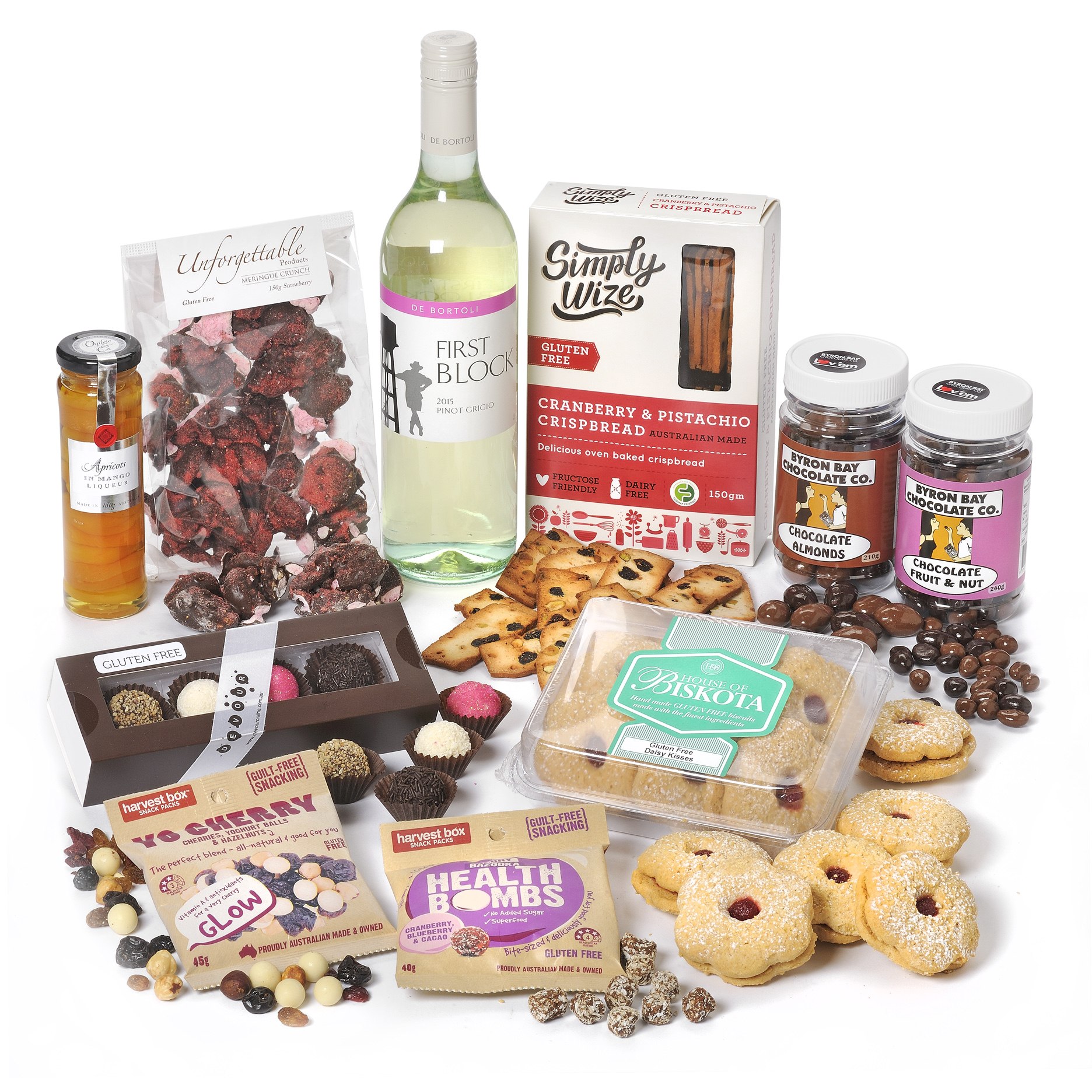 Gluten free wine and treats gourmet gift hamper gluten free wine treats negle Images